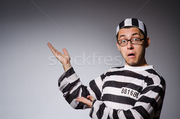 Funny więzień odizolowany szary okulary czarny Zdjęcia stock © Elnur