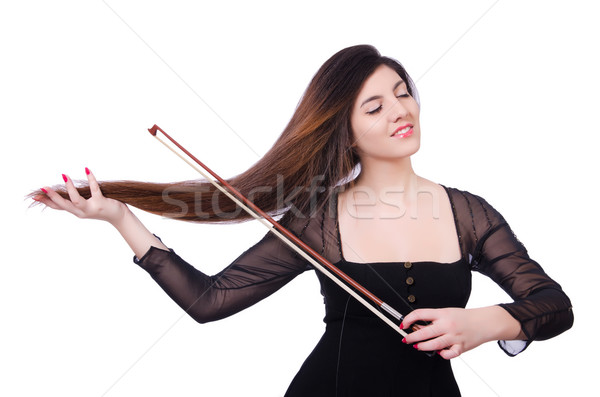 Woman performer playing violin on white Stock photo © Elnur
