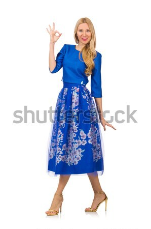 Young woman in blue floral dress isolated on white Stock photo © Elnur