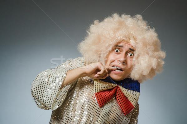 Photo stock: Drôle · homme · afro · perruque · fête · visage
