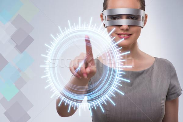 Techno lány kisajtolás virtuális gombok nő Stock fotó © Elnur