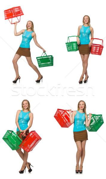 összetett fotó nő bevásárlókosár boldog vásárlás Stock fotó © Elnur