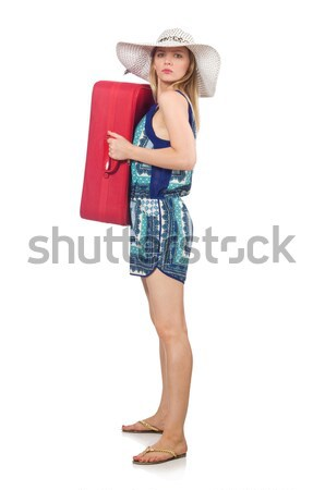 Woman in pink plaid shorts holding rug isolated on white Stock photo © Elnur