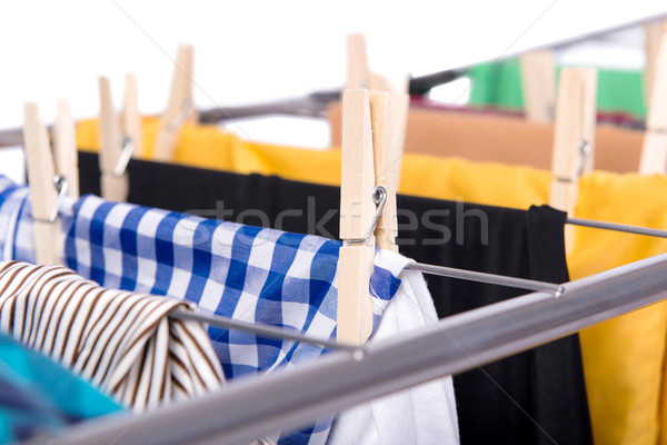 Collapsible clotheshorse isolated on the white background Stock photo © Elnur