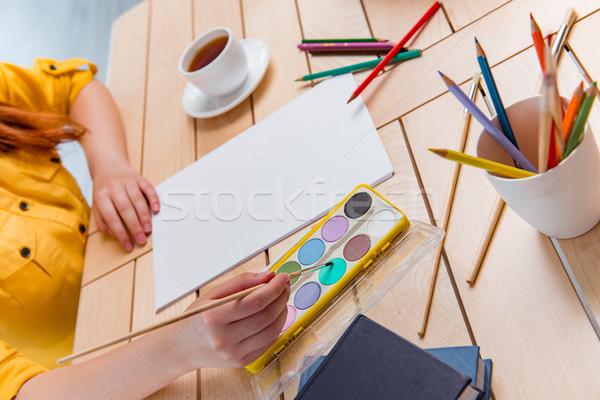 Genç okul çizim resimleri ev kadın Stok fotoğraf © Elnur