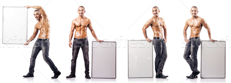 Man with blank poster on white Stock photo © Elnur