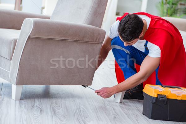 Szuperhős szerelő dolgozik otthon ház férfi Stock fotó © Elnur