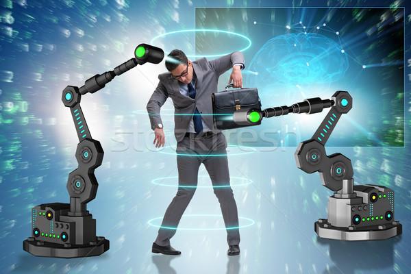 Empresário manipulado robótico brasão negócio homem Foto stock © Elnur