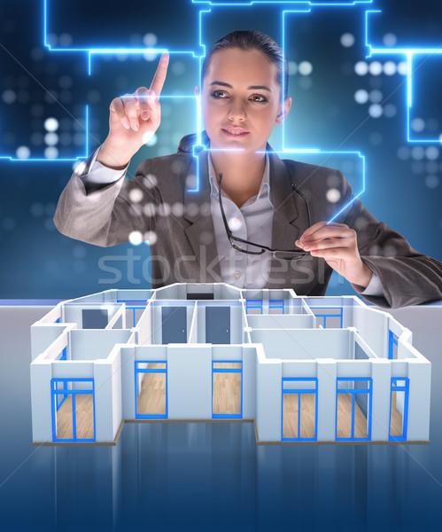 Ontwerper werken 3D futuristische appartement ontwerp Stockfoto © Elnur