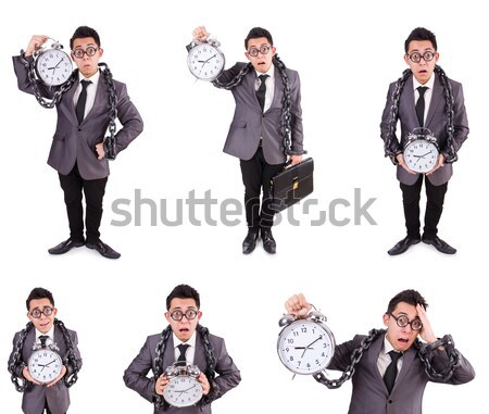Businessman with handcuffs on white Stock photo © Elnur