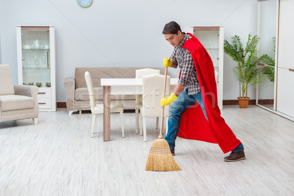 Szuperhős takarító dolgozik otthon férfi szolgáltatás Stock fotó © Elnur