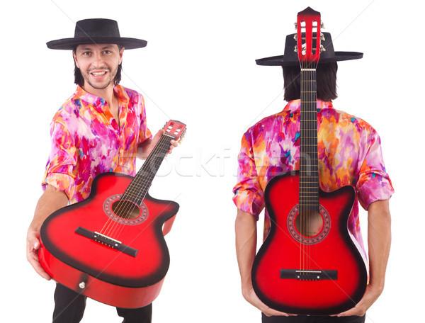 Adam geniş kenarlı şapka gitar parti sahne Stok fotoğraf © Elnur