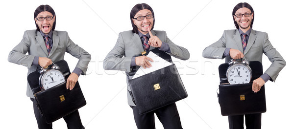 Young businessman in gray suit holding briefcase isolated on whi Stock photo © Elnur