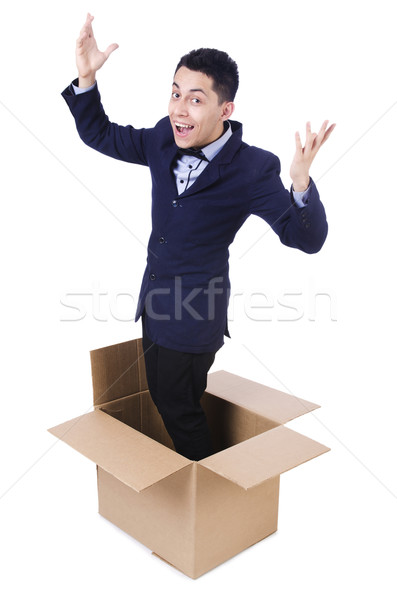 Businessman with box isolated on the white Stock photo © Elnur