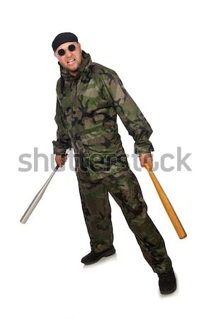 Male hooligan with bat on white Stock photo © Elnur