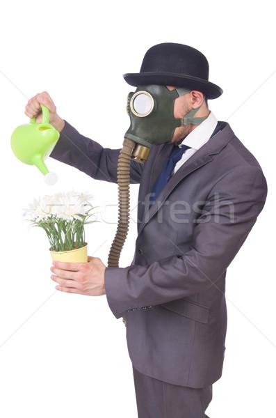 Businessman wearing gas mask isolated on white Stock photo © Elnur