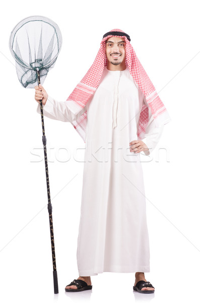 Arab businessman with catching net on white Stock photo © Elnur