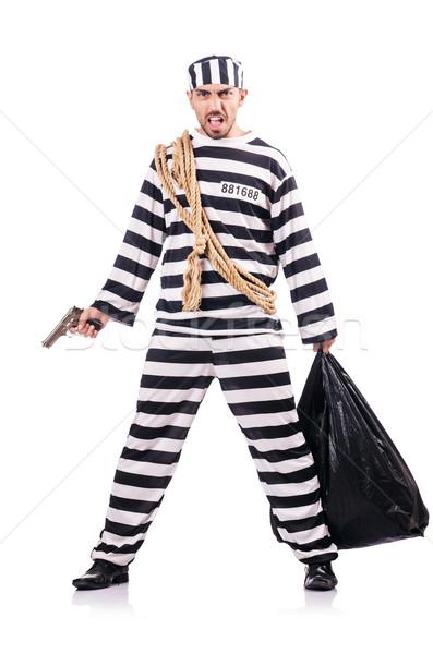 Crimineel gestreept uniform pistool recht Stockfoto © Elnur