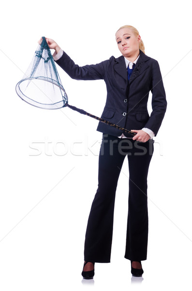 Businesswoman with catching net on white Stock photo © Elnur