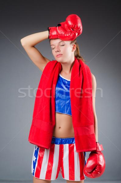 Vrouw bokser uniform symbolen sport lichaam Stockfoto © Elnur