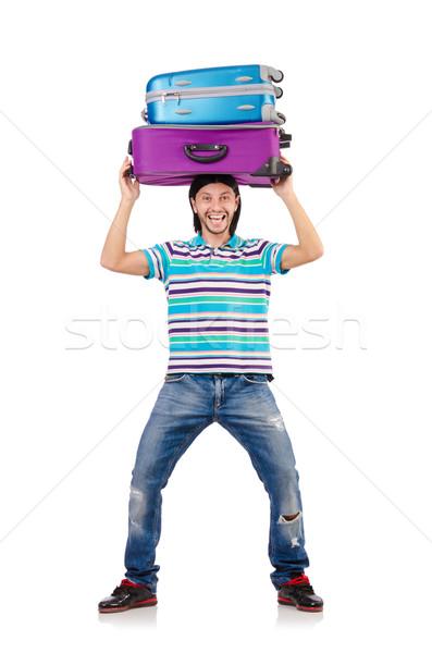 ストックフォト: 旅行 · 休暇 · 荷物 · 白 · 幸せ · 背景