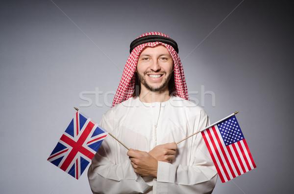 Árabe homem Reino Unido bandeira negócio fundo Foto stock © Elnur