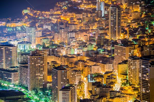 Nuit vue Monaco montagne eau été Photo stock © Elnur