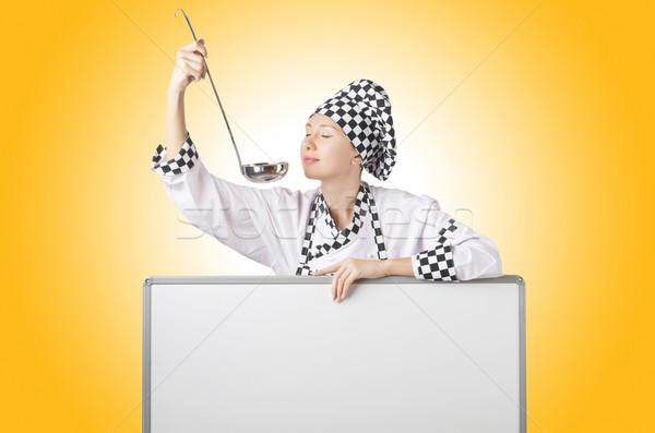 Stock fotó: Szakács · merőkanál · tábla · ház · étel · boldog