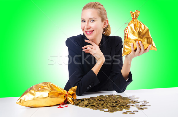 Nő érmék arany háttér üzletember pénzügy Stock fotó © Elnur