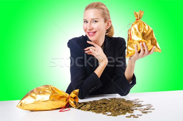 женщину монетами фон бизнесмен Финансы Сток-фото © Elnur