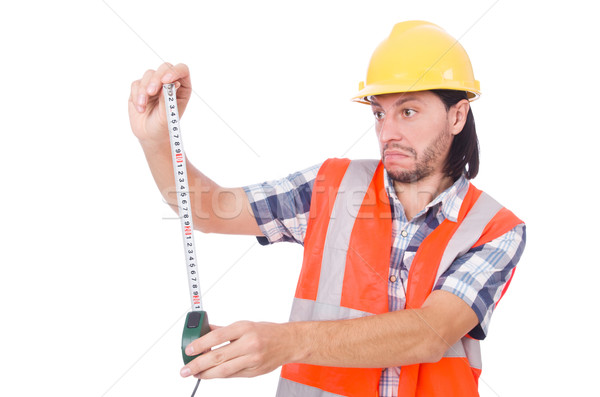 Construction worker with tape-line isolated on white Stock photo © Elnur