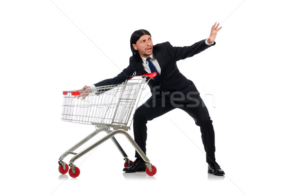 Man winkelen supermarkt mand winkelwagen geïsoleerd Stockfoto © Elnur