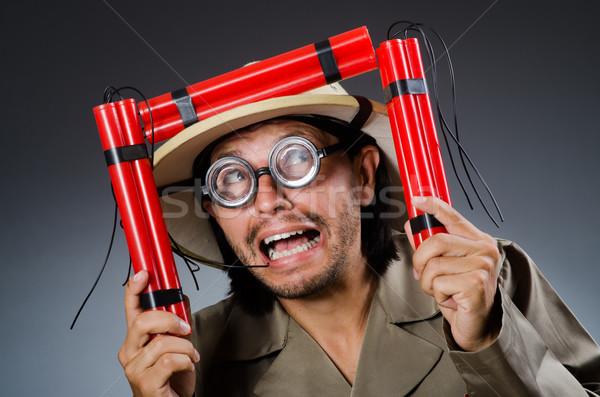 Komik safari avcı tabanca kırmızı beyaz Stok fotoğraf © Elnur