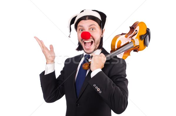 Stockfoto: Grappig · clown · zakenman · geïsoleerd · witte · business