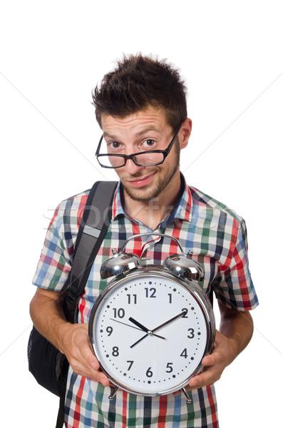 Estudiante que falta plazos aislado blanco sonrisa Foto stock © Elnur