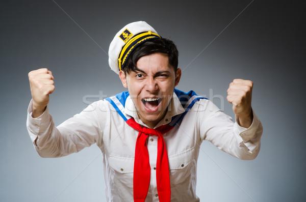 Funny marynarz hat człowiek szczęśliwy Zdjęcia stock © Elnur