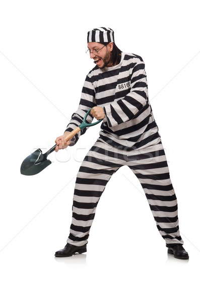 Stock photo: Prison inmate with spade isolated on white
