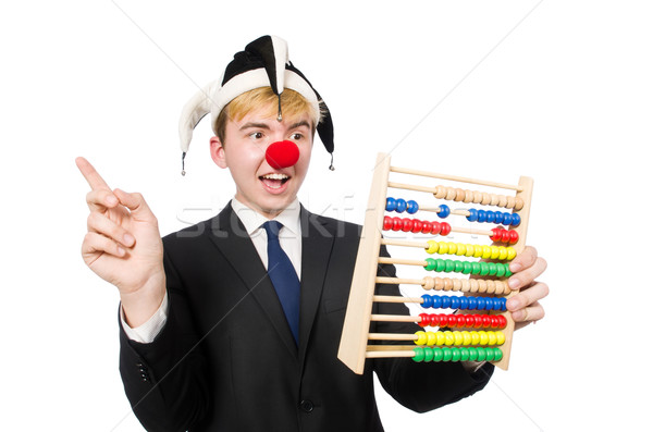 Clown with abacus isolated on white Stock photo © Elnur