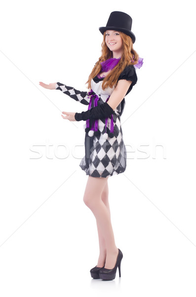 A girl in harlequin costume isolated on white Stock photo © Elnur