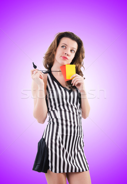 Woman referee with card against the gradient Stock photo © Elnur