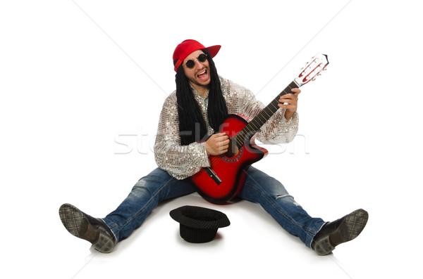 Masculina músico guitarra aislado blanco música Foto stock © Elnur
