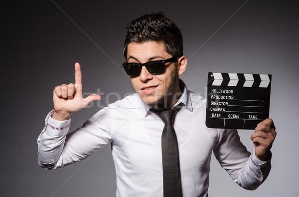 Stockfoto: Jonge · man · cool · zonnebril · schoolbord · geïsoleerd