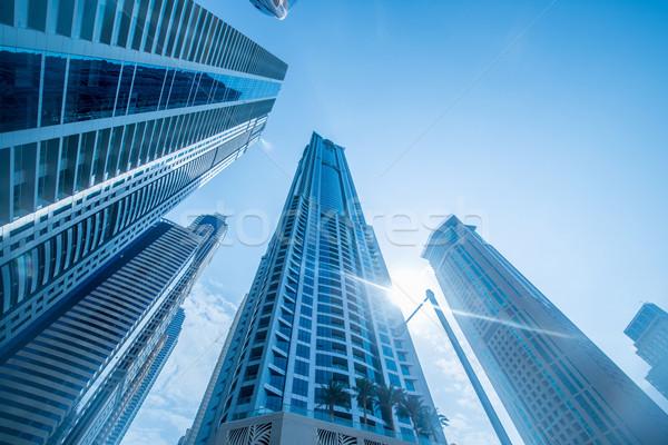 ドバイ マリーナ 高層ビル 水 建物 ストックフォト © Elnur