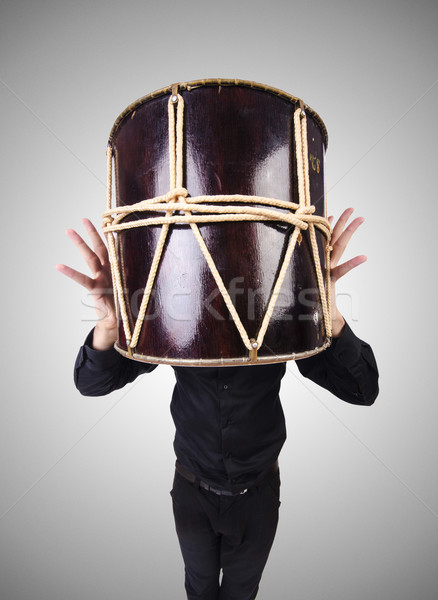 Funny hombre tambor blanco fiesta fondo Foto stock © Elnur