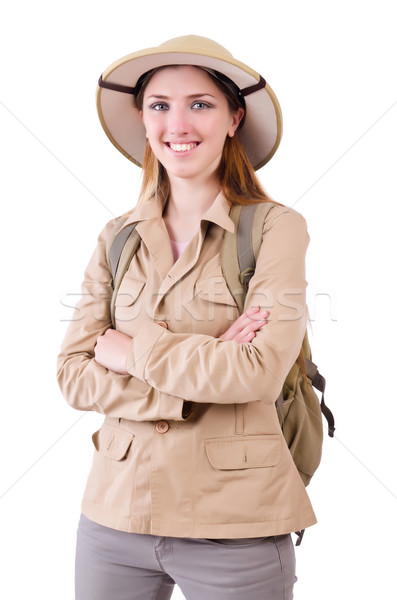 Frau tragen Safari hat weiß Sonne Stock foto © Elnur