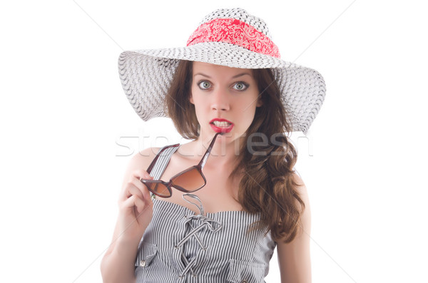 Young woman wearing hat and gray striped dress isolated on white Stock photo © Elnur