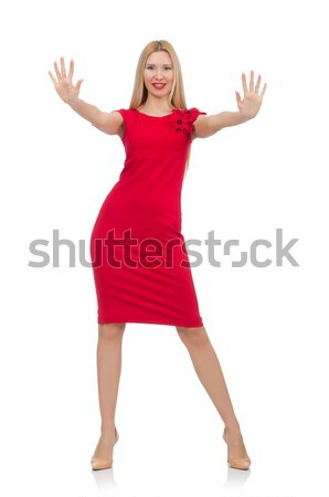 Beautiful woman in red long dress isolated on white Stock photo © Elnur