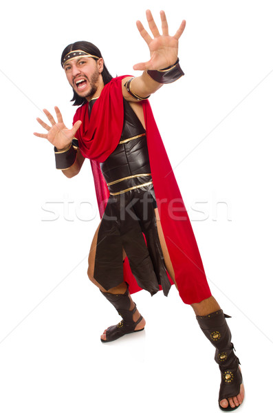 Gladyatör yalıtılmış beyaz adam eğlence kırmızı Stok fotoğraf © Elnur