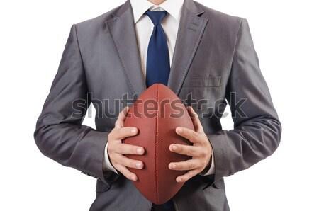 Stockfoto: Man · amerikaanse · voetbal · bal · geïsoleerd · blanke · man