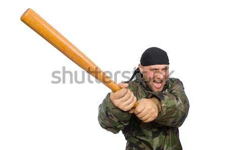Foto stock: Funny · hombre · bate · de · béisbol · aislado · blanco · béisbol